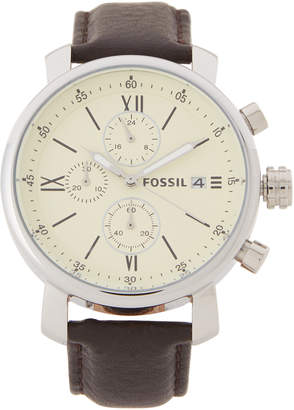Fossil BQ1007 Silver-Tone & Brown Watch