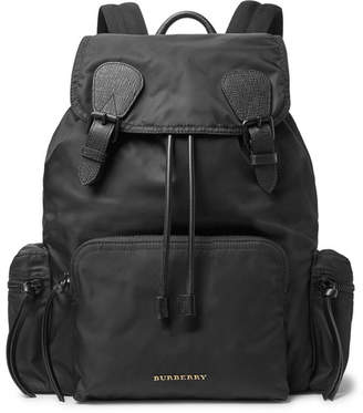 Burberry Leather-Trimmed Nylon Backpack - Black