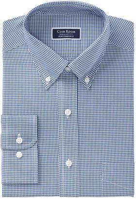 Club Room Men's Classic/Regular Fit Performance Mini Gingham Dress Shirt