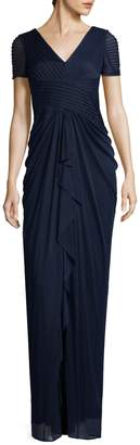 Adrianna Papell Women's Pintuck V-Neck Maxi Dress