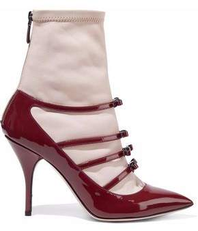 RED Valentino Bow-Detailed Patent And Smooth-Leather Ankle Boots