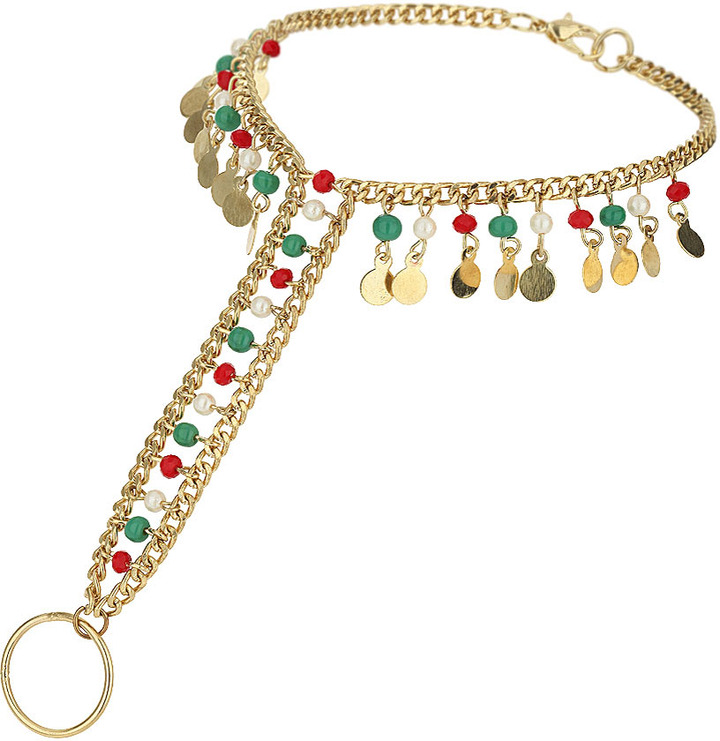 Topshop Multi-coloured beaded anklet