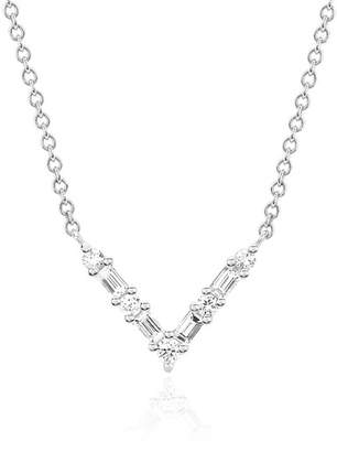 Ef Collection 14K White Gold Diamond Baguette Chevron Necklace - 0.18 ctw