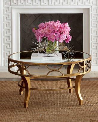 Horchow Lena Mirrored-Top Coffee Table