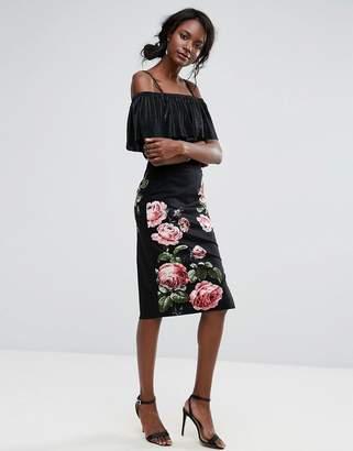 Oasis Royal Worcester Floral Print Pencil Midi Skirt $76 thestylecure.com