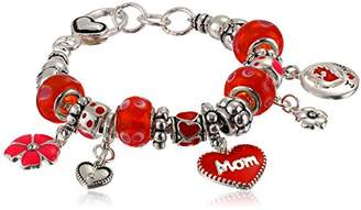"""Love You Mom"" Hearts and Flowers Charm Bracelet"