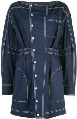 Derek Lam 10 Crosby Long Sleeve Shirtdress with Center Placket