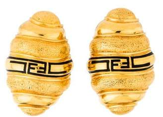 Fendi Logo Beehive Clip-On Earrings Gold Logo Beehive Clip-On Earrings