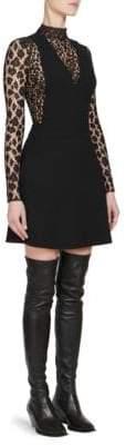 Givenchy Wool Crepe& Mesh Dress