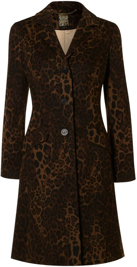 Women's Biba Leopard knee length coat