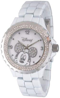 EWatchFactory Disney Mickey Mouse Women White Enamel Sparkle Alloy Watch