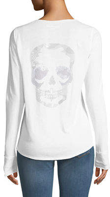 Zadig & Voltaire Tunisien Skull-Back Long-Sleeve Henley Top