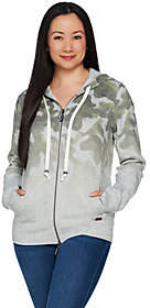 At Qvc  C B Peace Love World Ombre Camo Print Zip Frontfleece Hoodie