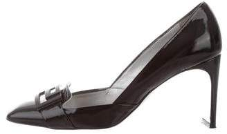 Versace Patent Leather Square-Toe Pumps
