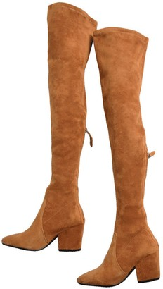 Goodnight Macaroon 'Marlo' Tan Over The Knee Suede Leather Boots