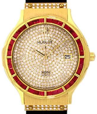 "Hublot Classic Elegance"" 18K Yellow Gold Ruby & Diamond Pavé Strap Watch"