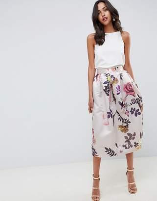 Closet London Midi Floral Skirt
