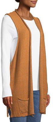 eskandar Roll-Front Linen Cardigan Sweater Vest