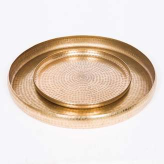 J & K Europe Imports Round Antique Brass Trays Set/2