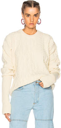 Y/Project Asymmetrical Sleeve Crewneck Sweater in Natural | FWRD