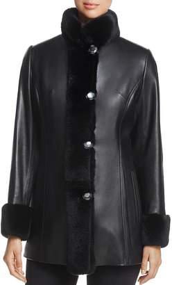 Maximilian Furs Rex Rabbit Fur-Collar Leather Jacket - 100% Exclusive