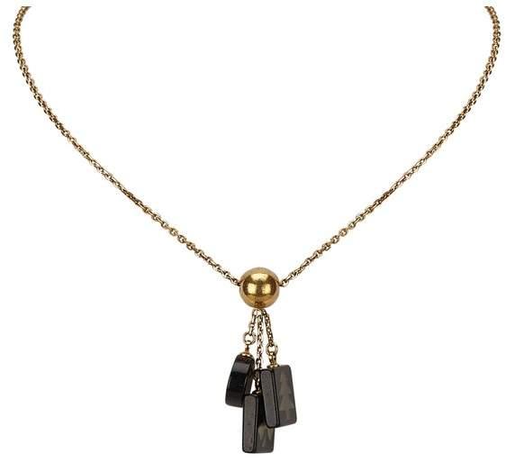 Vintage Chanel Vintage Chanel   Cc Charm Necklace   Silver x black