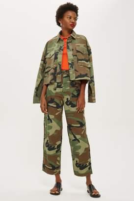 Topshop Womens Petite Camo Print Trousers - Khaki