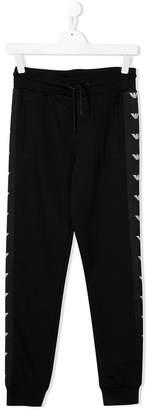 Emporio Armani Kids TEEN side stripe logo track pants