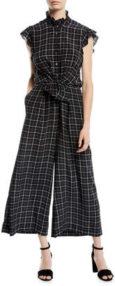 Rebecca Taylor Sleeveless Plaid Silk Wide-Leg Jumpsuit
