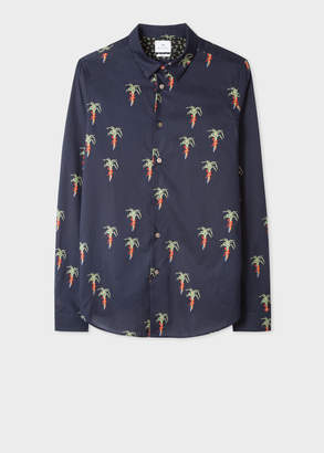 Paul Smith Men's Slim-Fit Dark Navy 'Palm Tree' Print Stretch-Cotton Shirt