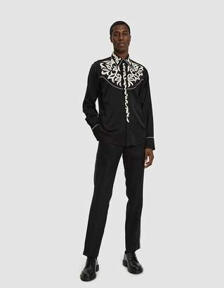 Dries Van Noten Embroidered Satin Shirt in Black
