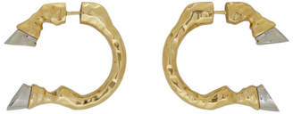 Burberry Gold and Silver Hoof Open Hoop Earrings