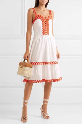 Temperley London Boheme Embroidered Cotton-poplin Dress - White