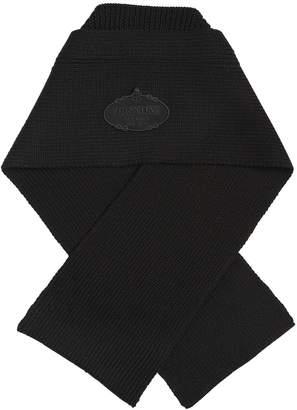 Prada Wool Rib Knit Scarf W/ Logo Patch