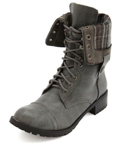 Charlotte Russe Fold-Over Lace-Up Combat Boot