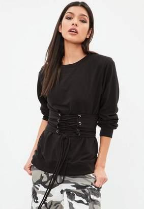 Missguided Black Corset Belt Detail Sweatshirt