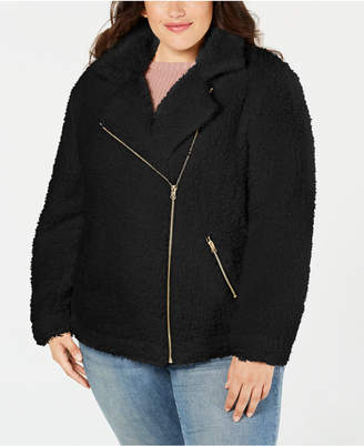 Say What Trendy Plus Size Fleece Moto Jacket