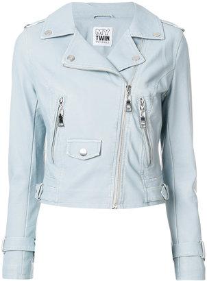 Twin-Set zip up biker jacket $229.61 thestylecure.com