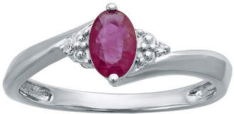 FINE JEWELRY Lead Glass-Filled Ruby and Diamond-Accent Sterling Silver Oval Ring