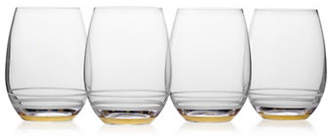 Mikasa Four-Piece Lux Gold Crystal Stemless Wine Glass Set