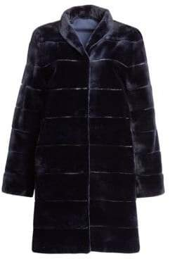 Zandra Rhodes Striped Sheared Mink Fur Coat