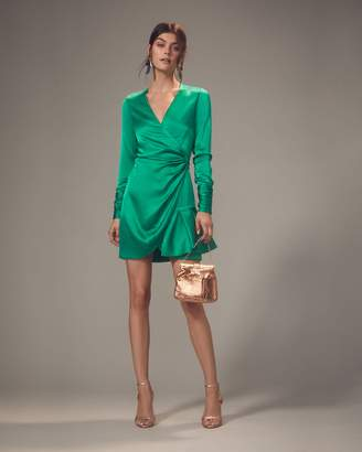 Alexis Komosa Emerald Wrap Mini Dress