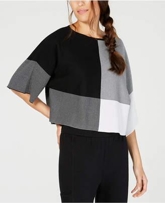 Eileen Fisher Tencel Bateau-Neck Colorblocked Top, Regular & Petite
