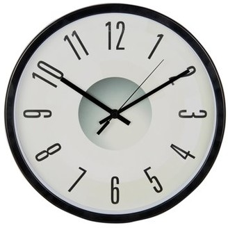 """Victory Light Tempus 11-3/4"""" Contemporary Wall Clock with Gloss Black Frame and Decorative Face with Silent Sweep Quiet Movement"""