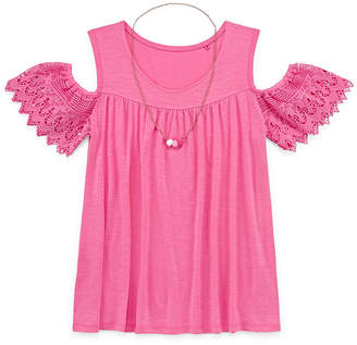 Arizona Crochet Sleeve Cold Shoulder Top - Girls' 4-16 & Plus