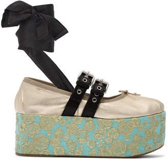 Miu Miu 75 jacquard platform shoes