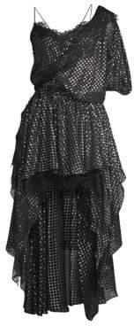 Faith Connexion One-Shoulder Lace Silk High-Low A-Line Dress