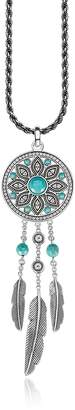 Thomas Sabo Blackened Sterling Silver Feather Long Necklace w/White Cubic Zirconia and Turquoise Dream Catcher Pendant