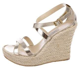Jimmy Choo Metallic Leather Wedge Sandals Gold Metallic Leather Wedge Sandals