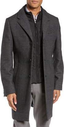 Ted Baker Plaid Stretch Wool & Cotton Overcoat